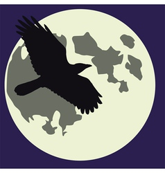 Moon black raven vector