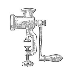 Meat grinder black vintage engraving vector