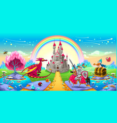 Landscape of dreams with dragon and knight vector