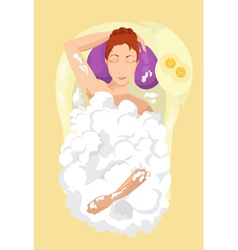Woman taking a bubble bath vector