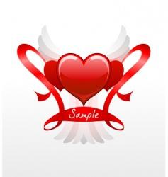 hearts and ribbons vector image