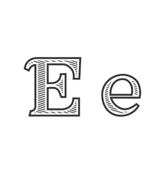 Font tattoo engraving letter e with shading vector