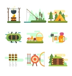 Tourist summer equipment set vector
