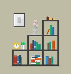 Minimal bookshelf with many books and flower vector image