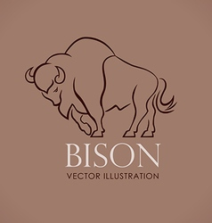 Line logo sing emblem bison on lite brown vector