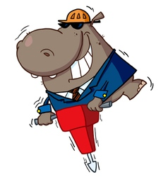 Hippo worker operating a vibrating jackhammer vector