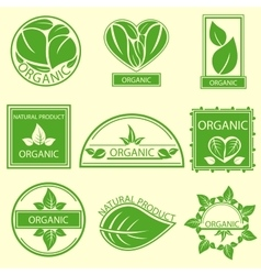 Organic natural emblems products labels logo vector