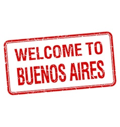 Welcome to buenos aires red grunge square stamp vector