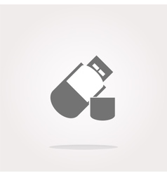 usb flash drive web glossy icon on white vector image