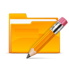 folder and pencil vector image