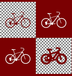 Bicycle bike sign bordo and white icons vector
