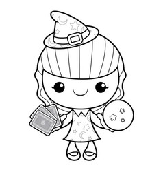 Black and white witch mascot dire les cartes vector