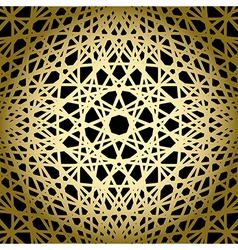 Black background with gold knitted grid - pattern vector