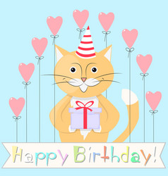 Cat happy birthday vector