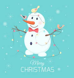 christmas snowman character birds lights garland vector image vector image