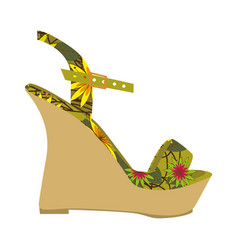 colorful silhouette of sandal shoe with platform vector image vector image