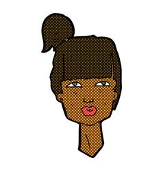 Comic cartoon female head vector