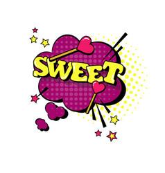 Comic speech chat bubble pop art style sweet vector