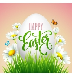 Easter greeting lettering Eggs and flowers vector image vector image