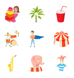 Fascinating icons set cartoon style vector
