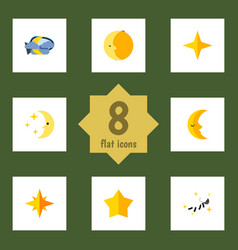 flat icon midnight set of star midnight vector image vector image