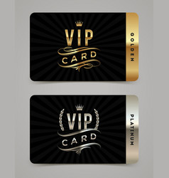 golden and platinum vip card template vector image vector image