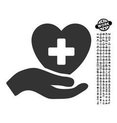 Hand offer cardiology icon with people bonus vector