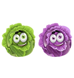 Head of fun purple and green cabbage vector image vector image