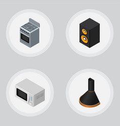 isometric technology set of air extractor stove vector image vector image