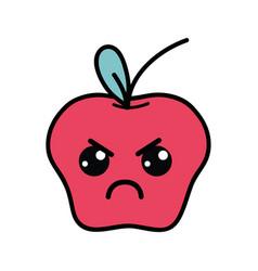 Kawaii cute angry apple fruit vector