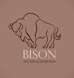 Line logo sing emblem bison on lite brown vector