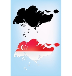 Map of Singapore with national flag vector image