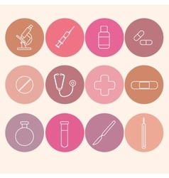 Medicine icons set Line art vector image