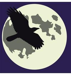 Moon black raven vector