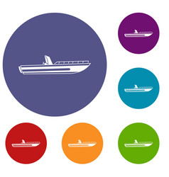 Motor speed boat icons set vector