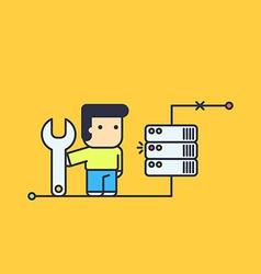 Network engineer repair server vector