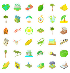 rest in nature icons set cartoon style vector image