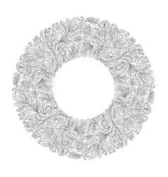 round frame with black and white doodle flowers vector image vector image