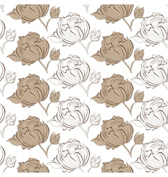 Seamless wallpaper with Peony flowers vector image
