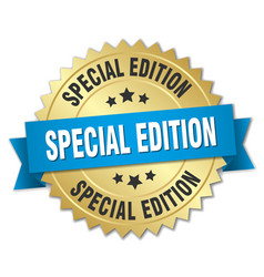 Special edition 3d gold badge with blue ribbon vector
