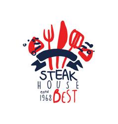 Steak house logo best estd 1968 vintage label vector