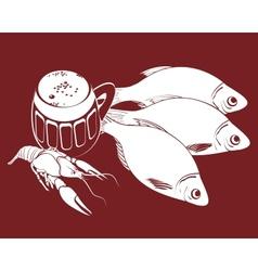stockfish and bear vector image vector image