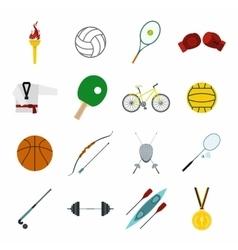 Summer sport flat icons set vector image