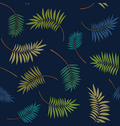 Tropical colorful palm leaves pattern vector
