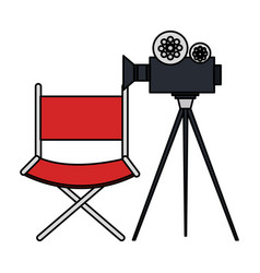 video camera cinema with director chair vector image