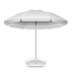 White outdoor beach garden umbrella parasol vector
