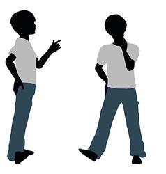 Boy silhouette in happy talk pose vector