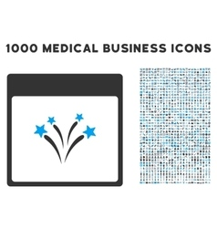 Fireworks calendar page icon with 1000 medical vector