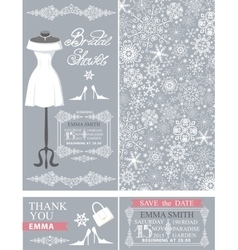 Bridal shower cardswinter weddingdresspattern vector