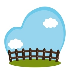Field farm with fence scenery vector